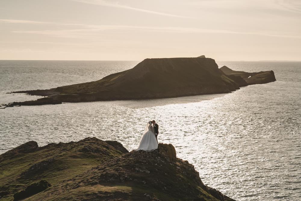 Bride & Groom in Oldwalls & Rhossili cliff top