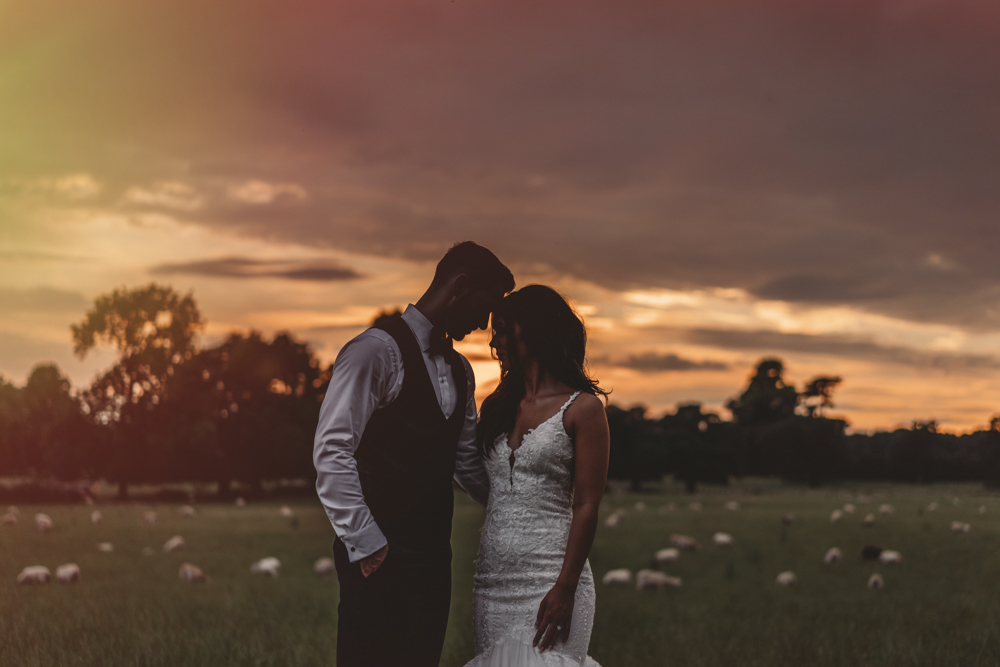 sunset wedding photography st tewdrics house